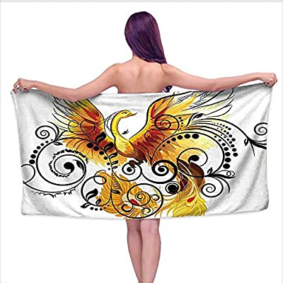 Beach Towel Towels? Phoenix Ivy Leav Feathers Print Image Yellow White Black Brown,Sports, Travels, Quick Drying and Super Absorbent Technology