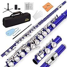 Eastar EFL-1B 16 Keys C Flute Close Hole Nickel Plated Blue Beginner Flute Set With Fingering Chart, Hard Case, Cleaning Rod, Stand, Strap, Gloves