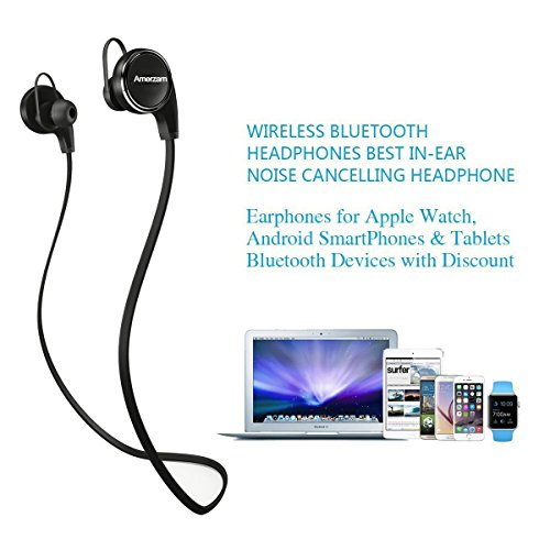 amerzam bluetooth headphones 4 1 earbuds wireless sports headset stereo headphones with mic black. Black Bedroom Furniture Sets. Home Design Ideas