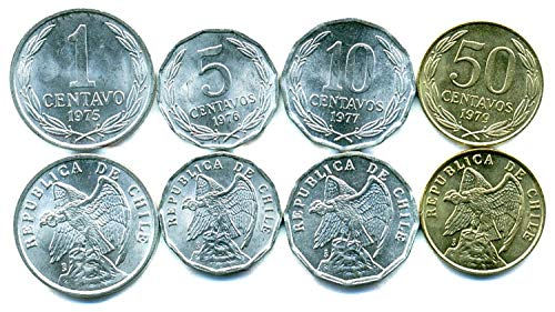 Chile 4 Coins Set 1975-1979 UNC 1 CENTAVO - 50 CENTAVOS Collectible Coins for Your Coin Album, Coin Holders OR Coin Collection