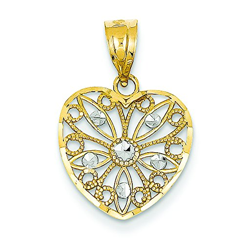 14K Two-Tone Gold Diamond-Cut Fancy Filigree Heart Charm Pendant