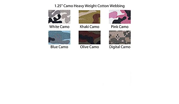 "1 Yard Camo Camouflage Cotton Webbing 1.25/"" Heavy Weight 6 Colors to Choose"