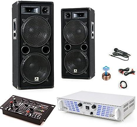 2400 W Equipo de música de fiesta PA Cajas Amplificador USB MP3 Mesa de mezclas de micrófono DJ 161: Amazon.es: Electrónica