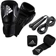 ADIDAS BOXING GLOVES, BOXING HANDWRAPS AND SKIPPING ROPE