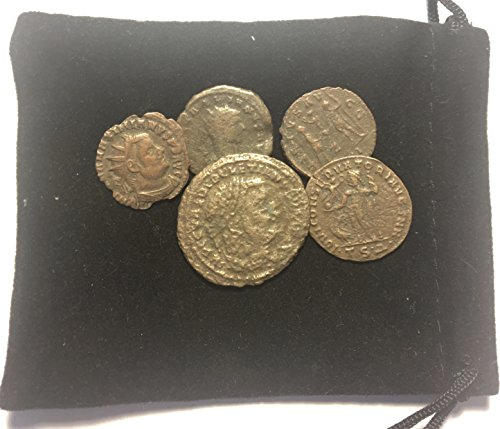 - IT 5 Ancient Pre - Christian Roman Coins Comes in a Velvet Gift Bag AG-Good
