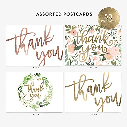 (50 4x6 Thank You Postcards Assorted Bulk Set, Floral Watercolor and Calligraphy Note Card Stationery, Blank Thank You Cards for Wedding, Bridesmaid, Assorted Bulk Pack)