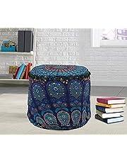 Ottoman Pouf Cover Indian Floor Kussen Retro Ronde Kussen Zitbank Cover Ottomaanse Voetbank Bean Bag Kussen Meditatie Case (22 x 22 x 14 Inch)