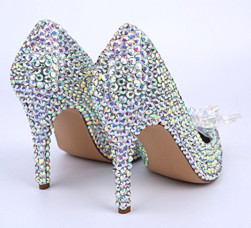 Party TDA Silver Patent Leather Wedding Shoes Stiletto Pointed Dress Women's Dazzling Toe Rhinestones qrCxZ8gqw