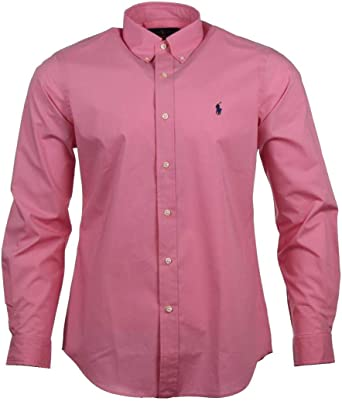 Ralph Lauren Classic Fit - Camisa para hombre, color azul y rosa rosa M: Amazon.es: Ropa y accesorios
