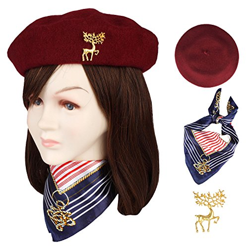 Jeicy Wool Beret Hat Solid Color French Beret With Skily Scarf and Brooch (Wine Red) (French Hat)
