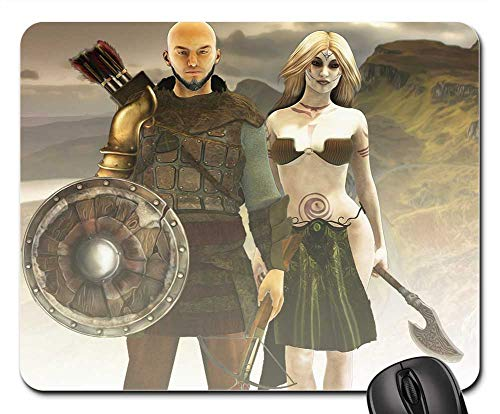 Mouse Pad - Fantasy Fantasy Characters Vikings Male and Female