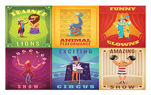Ambesonne Circus Doormat, Circus Characters with Trained Animals Strong Man Trapeze Artist Retro Show Design, Decorative Polyester Floor Mat with Non-Skid Backing, 30