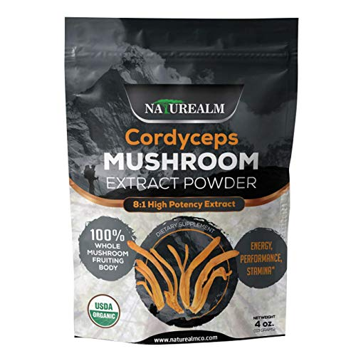 Cordyceps Mushroom Extract Powder - USDA Certified Organic - High Performance Energy Supplement - Stamina, Endurance, Oxygen Utilization - Whole Mushrooms/No Fillers - 4oz (113g) ()