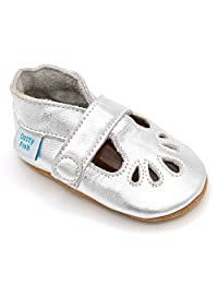 Dotty Fish Soft Leather Baby Shoes. Toddler Shoes. Non Slip Suede Sole. Classic Red, Navy and Silver T-Bars for Girls. 0-6 Months to 18-24 Months.