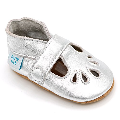 Dotty Fish Soft Leather Baby Shoes. Toddler Shoes. Classic Silver T-Bar Shoes for Girls. Non-Slip Suede Soles. 12-18 Months ()
