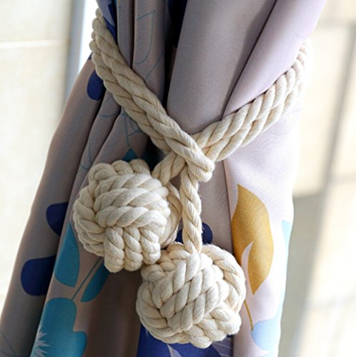 Cord Tie Backs (KISENG 1 Pair Curtain Tiebacks Hand Knitting Cord Rope Buckle Window Holdbacks for Bedroom (White))