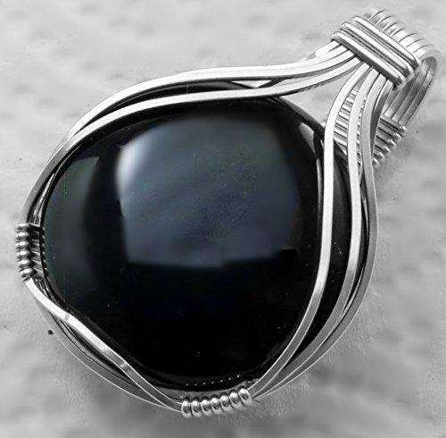 Black Onyx Waterfall Mens Ladies Unisex .925 Sterling Silver Pendant Jewelry ()