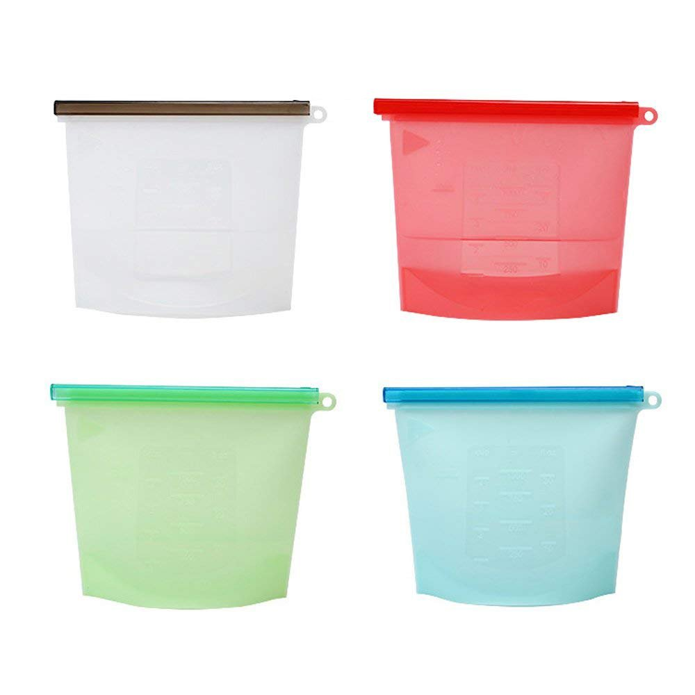 Reusable Snack Bags Silicone Food Storage Bags Sandwich Container, Ziplock Airtight, Sous Vide Cooking, Steam Boil Microwave Dishwasher Freezer, Meal Prep Lunch 4Pack