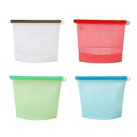 Amazon.com: Bolsas reutilizables de silicona para almacenar ...
