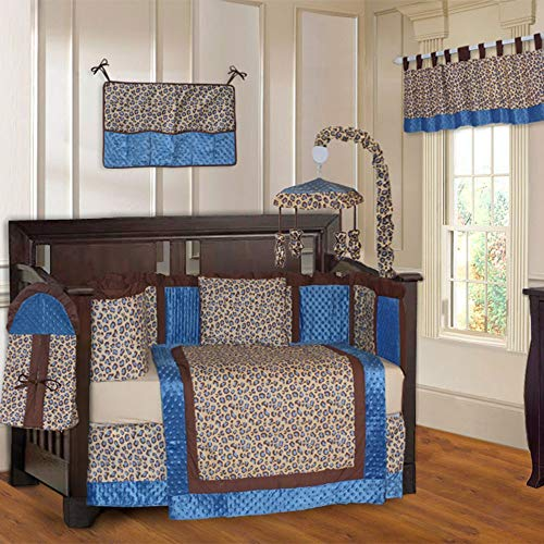 (10 Piece Brown Blue Leopard Baby Crib Bedding Set with Musical Mobile Cheetah Themed Wild Animal Crib Bedding for Girls Boys Nursery Bed Set Infant Child Blanket Quilt Skirt & More, Super Soft Cotton)