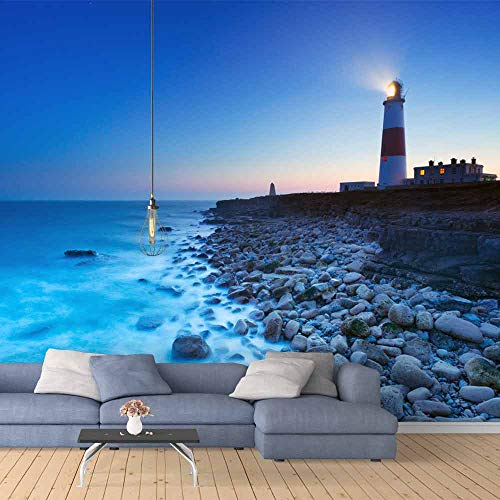 SIGNFORD Wall Mural The Seaside Lighthouse Removable Wallpaper Wall Sticker for Bedroom Living Room - 100x144 inches
