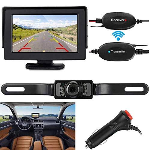 Camera Monitor Kit - ZSMJ Wireless Backup Camera and Monitor Kit 9V-24V Rear View System For Car SUV Van Night Vision Waterproof camera with Guide lines