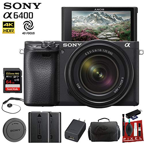 Sony Alpha a6400 Mirrorless Digital Camera with 18-135mm Lens (ILCE-6400M/B) with Bag, Extra Battery, 64GB Memory Card, Memory Card Reader and More.