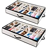 Woffit Under The Bed Shoe Organizer Fits 12 Pairs – Made with Sturdy & Breathable Materials – Set of 2 Underbed Storage Solution for Kids & Adults (Men & Women) Shoes
