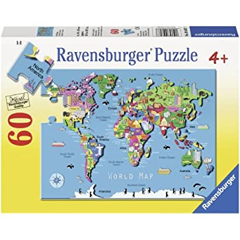 Amazoncom GeoPuzzle World Educational Geography Jigsaw Puzzle - Us map puzzle for toddlers