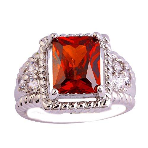 Empsoul 925 Sterling Silver Natural Chic Filled Garnet Topaz Engagement -