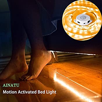 Under Bed Motion Activated Lighting with Pir Sensor, AINATU Under Cabinet Lighting, Bed Light with Automatic Shut Off Timer for Under Cabinet, Hallway, Wardrobe, and More (Warm White)