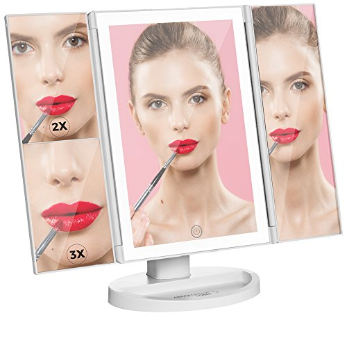 Lighted Makeup Mirror Vanity Mirror with Lights, Touch Screen Dimming, Tri-Fold 1x 2x 3x Magnification Sections, Portable High Definition Clarity Cosmetic Light Up Magnifying Mirror