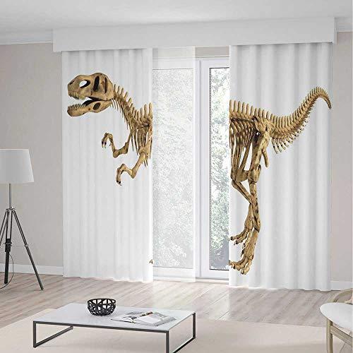 (TecBillion Decor Collection,Dinosaur,for Living Room,Fossil Dino Skeleton Bones Realistic Image Dangerous Dead Extinct Reptile2 Panel Set,103W X 96L Inches)