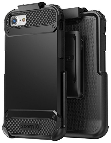 Encased Thin fit iPhone 8 Belt Case, Slim Dual Layer Protective Bumper Cover w/Holster Clip Combo - Compatible to Apple iPhone 8 (Scorpio Black)