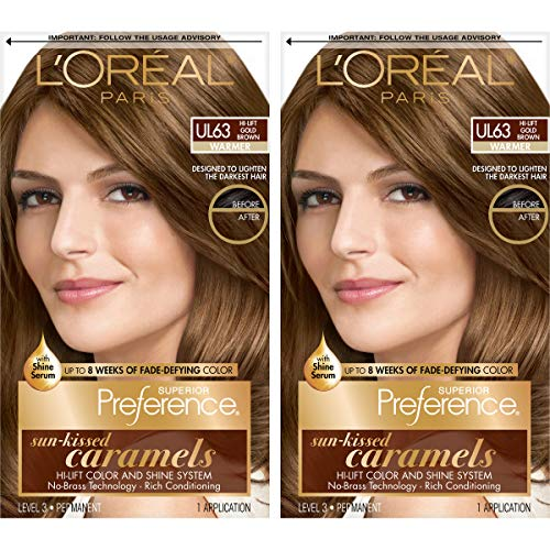 L'Oréal Paris Superior Preference Fade-Defying + Shine Permanent Hair Color, U163 Hi-Lift Golden Brown, 2 COUNT Hair Dye