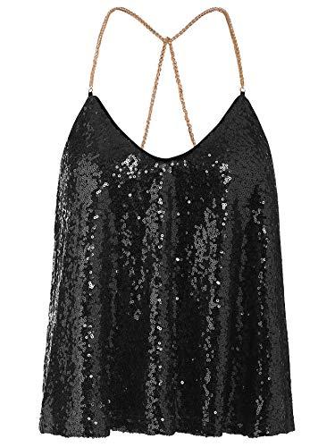 - Verdusa Women's Spaghetti Straps Party Criss Cross Sequin Sparkle Cami Halter Top Black S