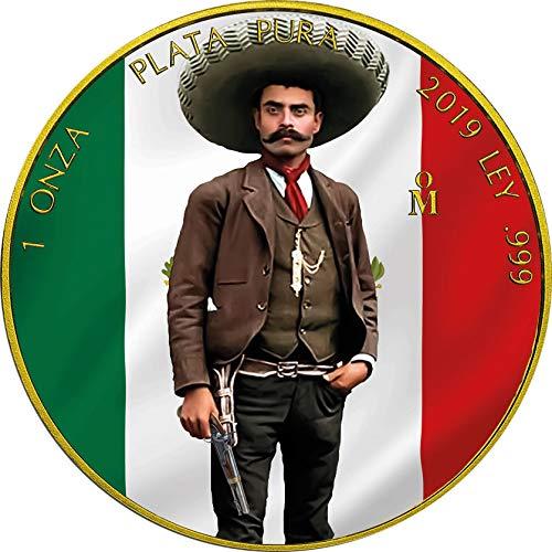 (2019 MX Modern Commemorative PowerCoin EMILIANO ZAPATA Revolution Libertad Gilded 1 Oz Silver Coin Mexico 2019 BU Brilliant Uncirculated)