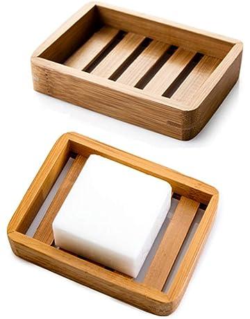 2Pcs Silicone Soap Dish Tray Holder Storage Bath Shower Plate Drain Bathroom US
