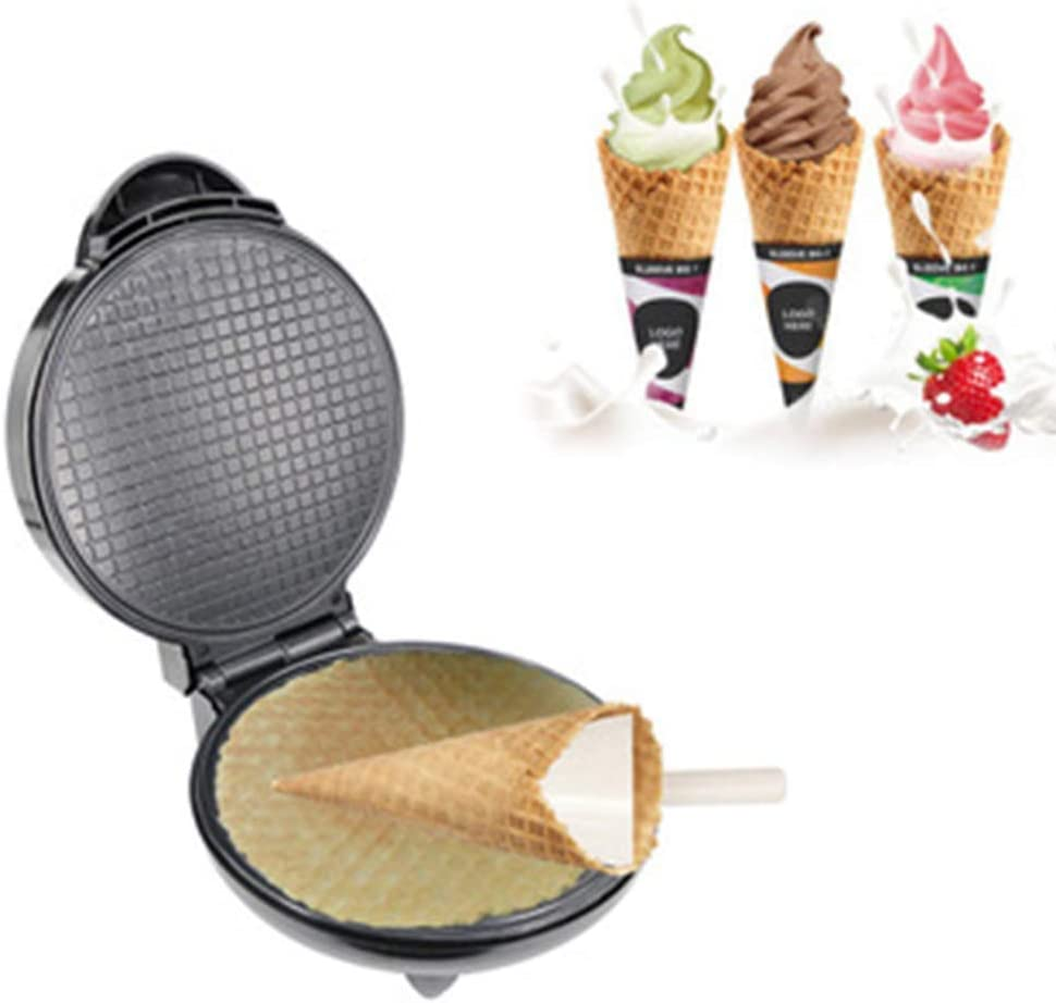NSYNSY Electric Cream Cone Maker Dessert Waffle Baking PAN, Sandwich Toaster, Non-Stick Carbon Coated dle Plate