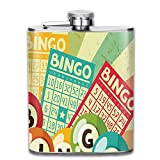 Weiheiwec 9 Bingo Game With Ball And Cards Pop Art Stylized Lottery Hobby Celebration Stainless Steel Hip Flask 7 OZ