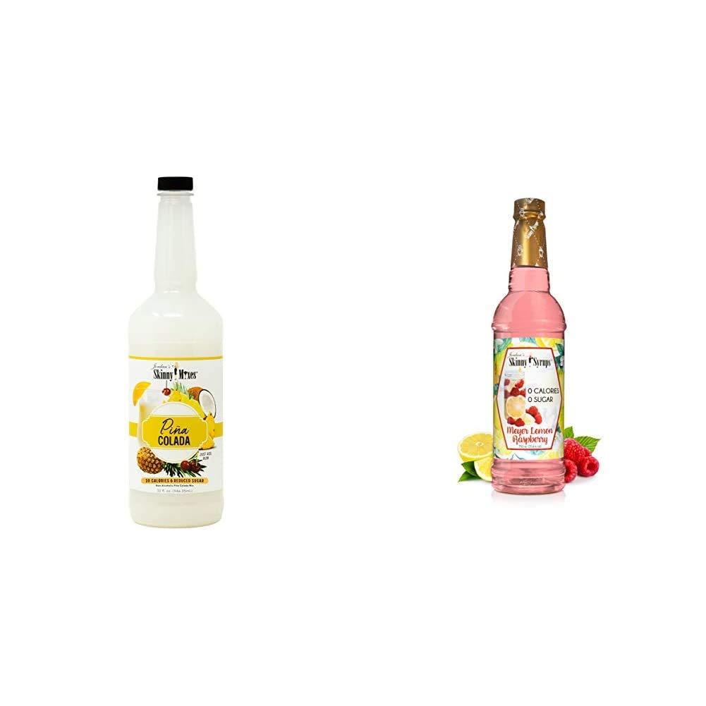 Skinny Mixes Cocktail Mix - Pina Colada | Healthy Flavors with 0 Sugar | 32 fl oz & Sugar Free Meyer Lemon Raspberry - Jordan's Skinny Syrups, 25.4 oz.