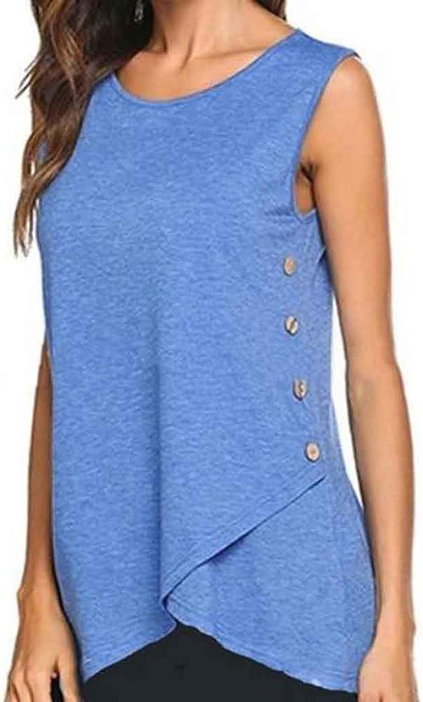 VEMOW Camisetas Mujer Camisola Botones Laterales sólidos para Mujer Manga Corta Cuello Redondo Informal Camiseta Delgada Tops Blusa(Azul, S): Amazon.es: Ropa y accesorios