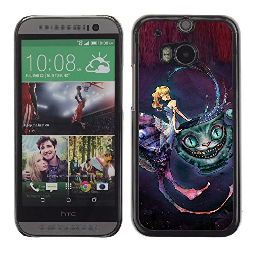 All Phone Most Case / Hard PC Metal piece Shell Slim Cover Protective Case for HTC One M8 Fairy Tale Cat Face Magic Girl Dress Dream