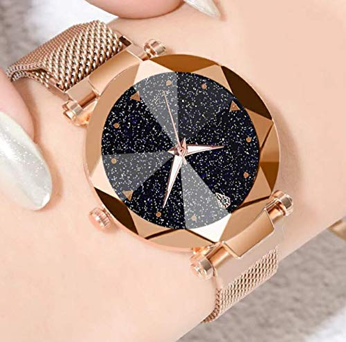 GT Gala Time Magnetic Bracelet Strap Design Rose Gold Chain Black Glittery Dial Analog Woman & Girls Wrist Watch (B07TLLS2P8) Amazon Price History, Amazon Price Tracker