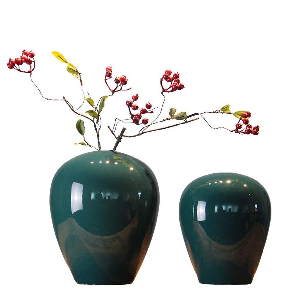 花のペアのためのセラミック花瓶グリーン植物結婚式の植木鉢装飾家事務机花瓶花バスケットフロア花瓶2ピース (サイズ さいず : S s) B07QQQ2PZZ  S s