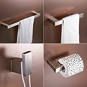 FLG Wall Mount Stainless Steel 4-Piece Bathroom Hardware Accessory Set Brushed Nickel