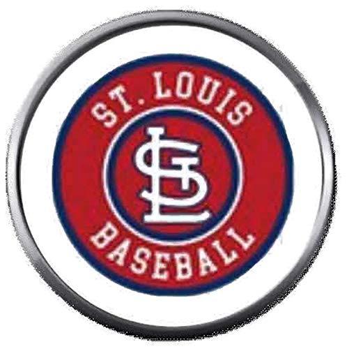 (MLB St Louis Cardinals Baseball Circle Logo 18MM - 20MM Snap Jewelry Charm)