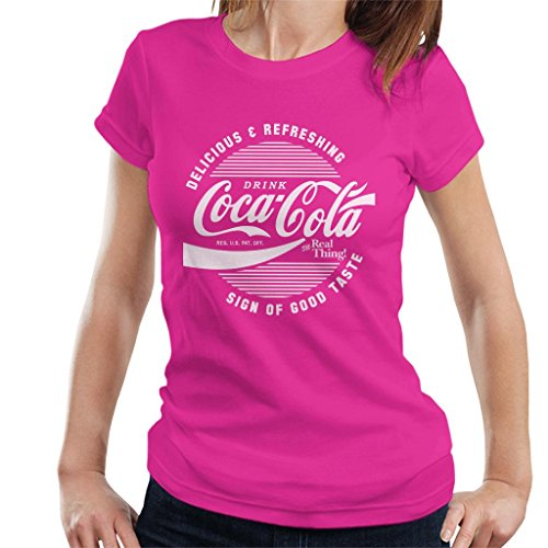 Official Coca Cola Circle Logo White Text Women's T-Shirt Official Logo Fashion Tee