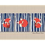 Fox Nursery Decor,Fox Nursery Wall Art,Navy Fox Nursery Wall Art,Woodland Nursery Wall Art,Fox Nursery Wall Decor,Fox Baby Gift,Navy Fox Nursery-UNFRAMED 3 PRINTS (NOT CANVAS) C163