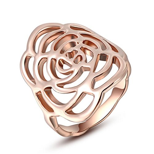 Austrian Crystal Rose Gold Hollow Out The Roses Rings (Thing 1 And Thing 2 Costume Ideas)